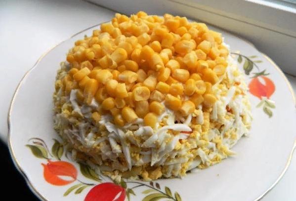 Салат мимоза с кукурузой с фото #3