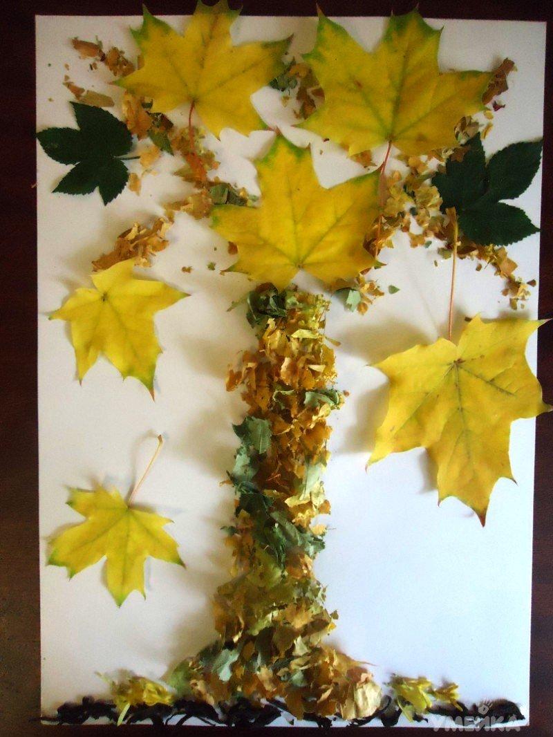 Поделка из желтых листьев