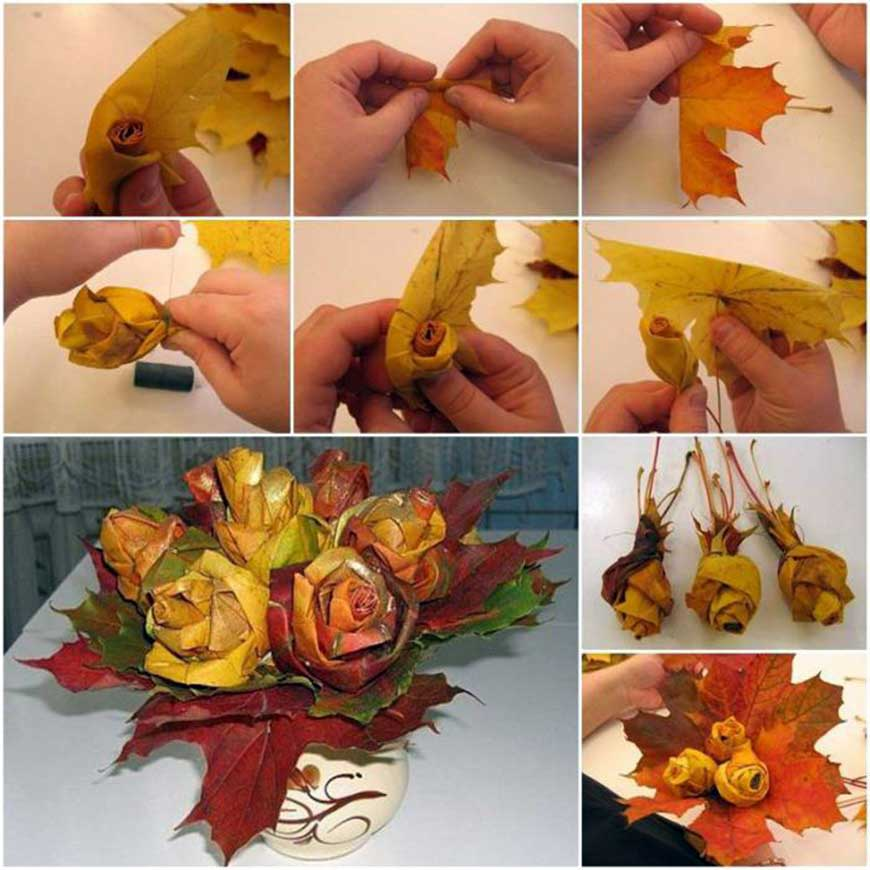 buket-cvetov-iz-listev Поделки своими рукам на тему осень в садик из природного материала